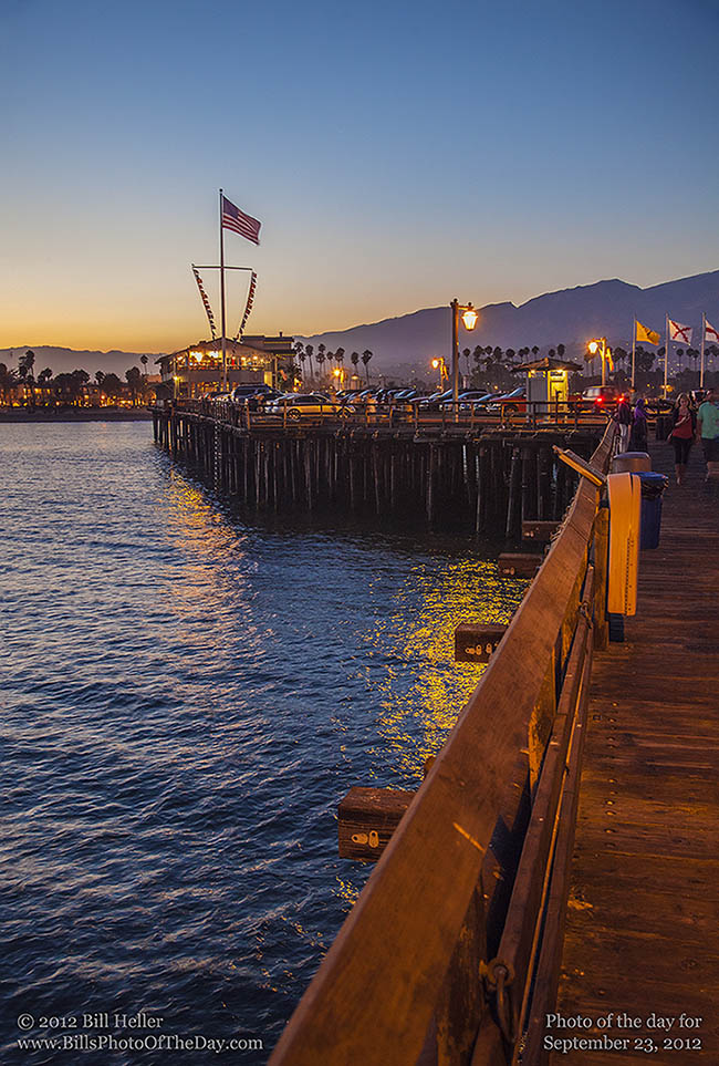 Stearns Wharf, Santa Barbara, California just after Sunset