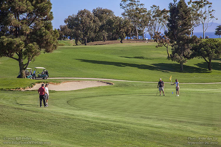 Putting on the 18th Hole at Sandpiper Golf Course, Goleta, California