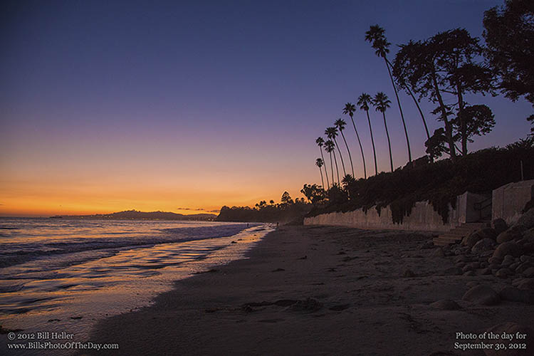 Lingering Sunset Glow over Butterfly Beach in Santa Barbara, California