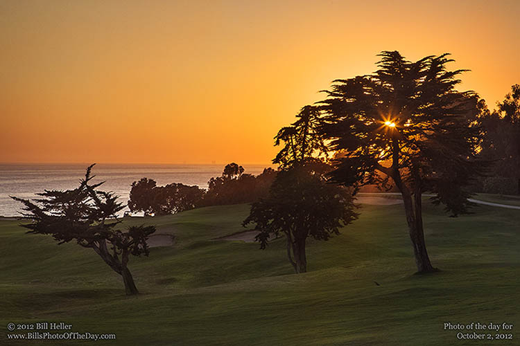 Suset over Sandpiper Golf Course in Goleta, California