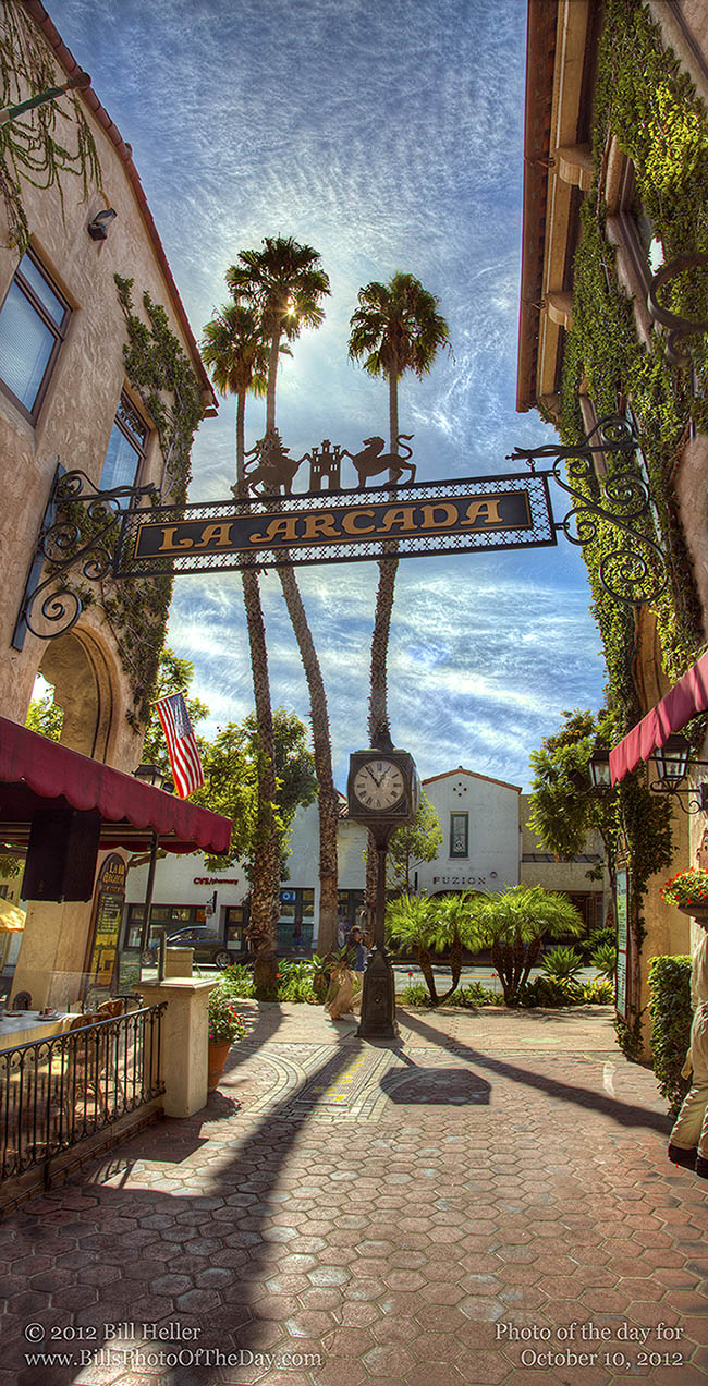 Entrance to La Arcada Shopping Center off of State Street in Santa Barbara