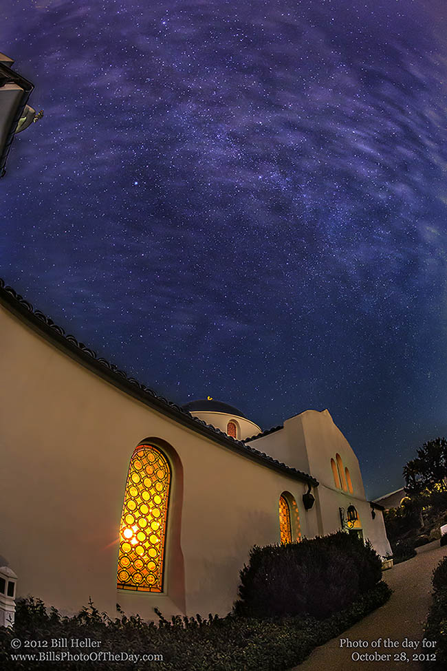 Milky Way Galaxy above the Santa Barbara Greek Orthodox Church