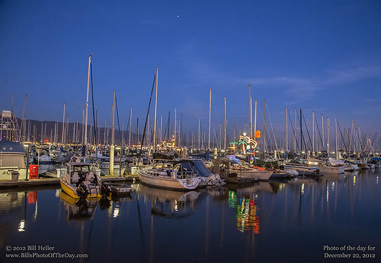 Sailboats decorated for Christmas in the Santa Barbara Harbor