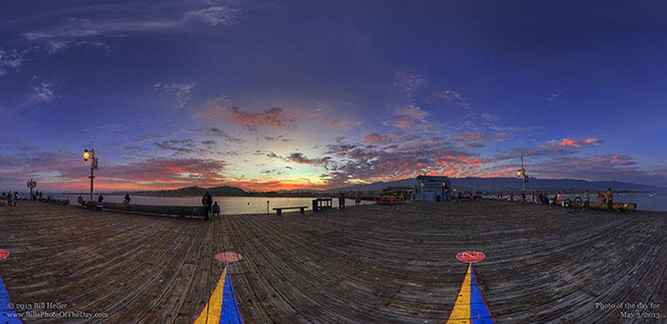 Sunset from the Compass Rose at the end of Stearns Wharf in Santa Barbara, California
