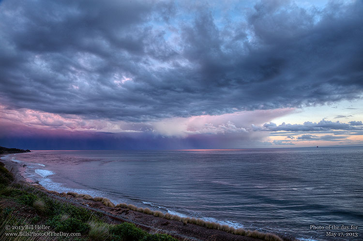 Storm rolling in at Sunset off of Pacific Coast Highway in Santa Barbara County