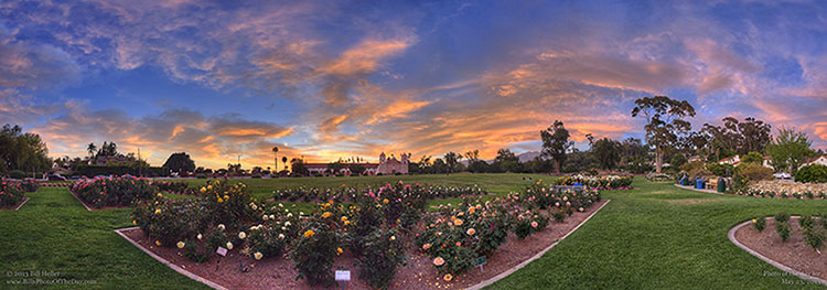 Santa Barbara Mission Rose Garden Sunset