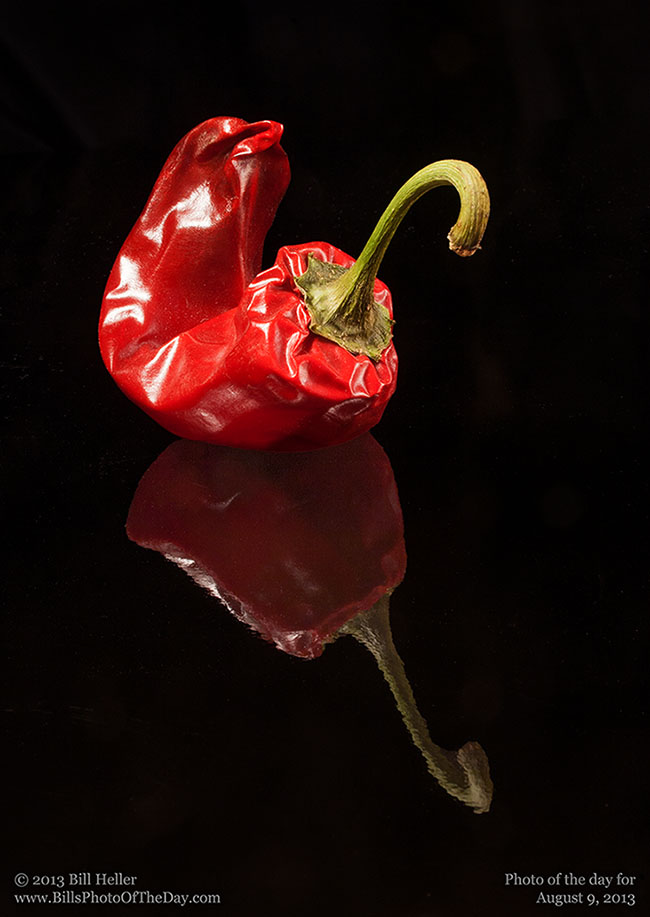 Red Pepper on Reflective Black Surface