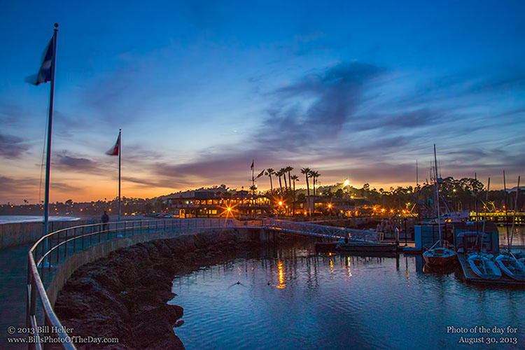 Just after sunset on the Santa Barbara harbor breakwater