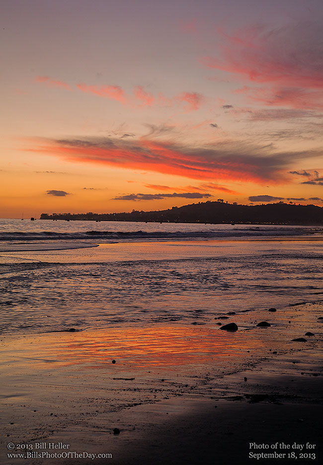 Sunset over Santa Barbara from Butterfly Beach in Montecito