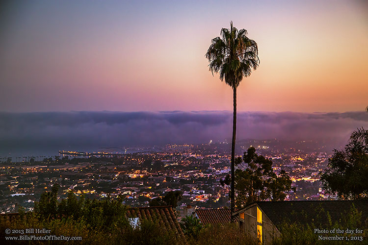 View of the fog rolling in over Santa Barbara from the Hills