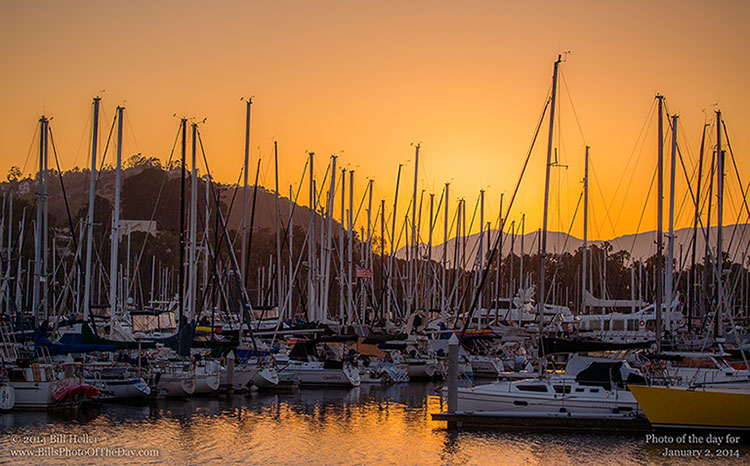 Sailboats at the Santa Barbara Harbor