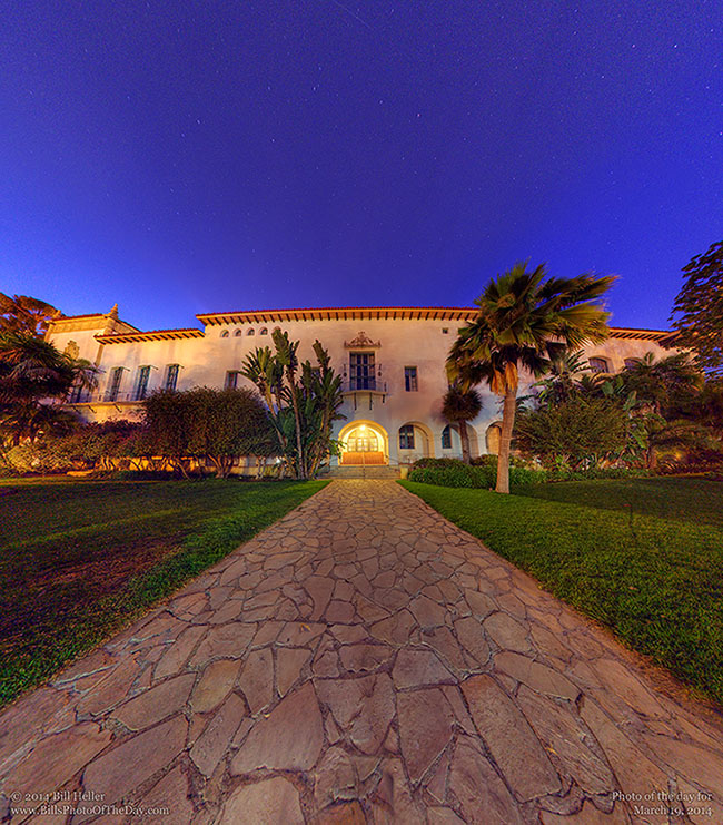 Santa Barbara Courthouse after dark on the Figueroa Side