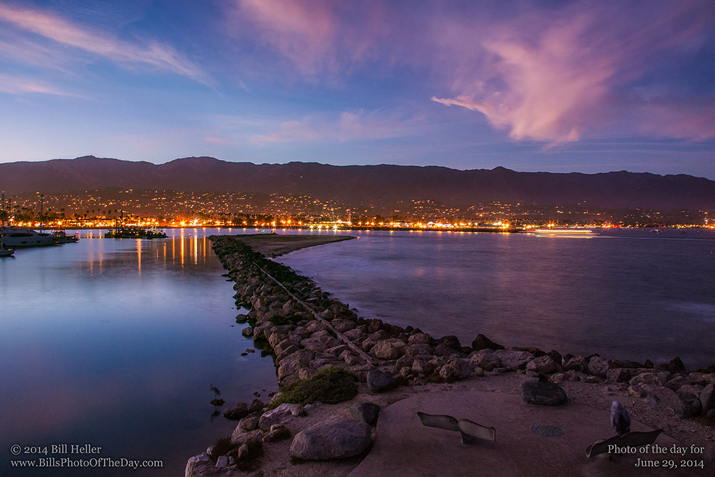Santa Barbara City Lights from the Harbor Breakwater