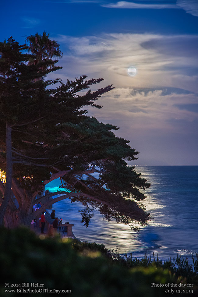 Supermoon over the water off of Butterfly Beach in Montecito