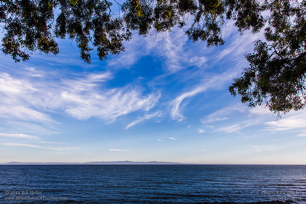 Cirrus Clouds over Channel Islands from Shoreline Park in Santa Barbara