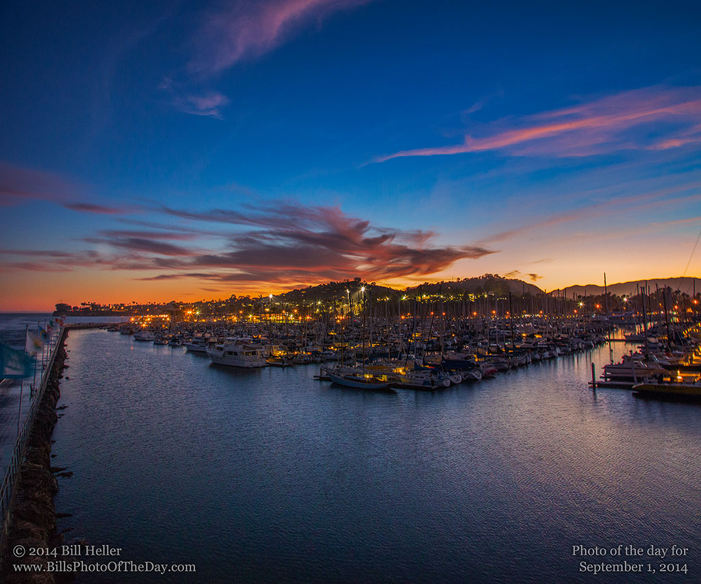 Elevated view of a beautiful summer sunset over the Santa Barbara Harbor