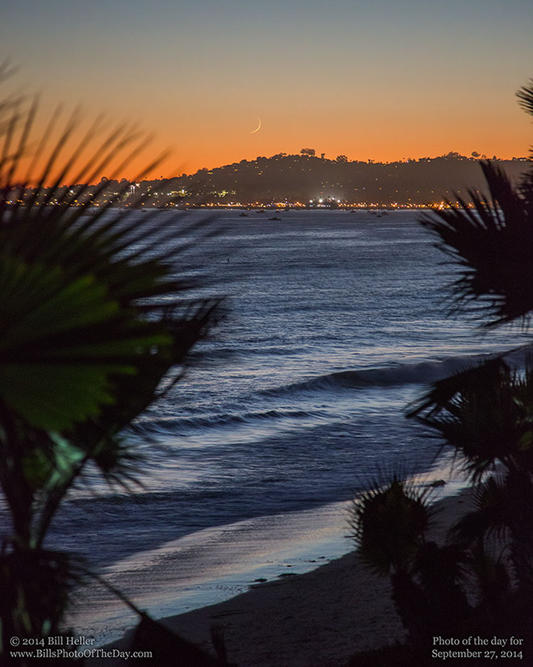 Crescent Moon setting over Santa Barbara