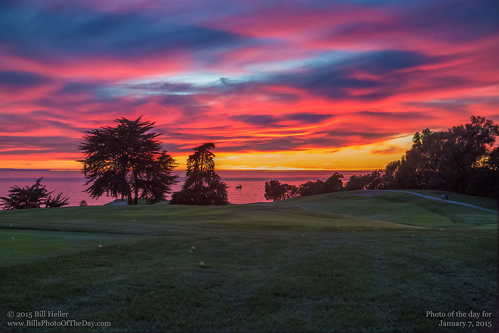 Amazing Winter Sunset over Sandpiper Golf Course in Goleta, California