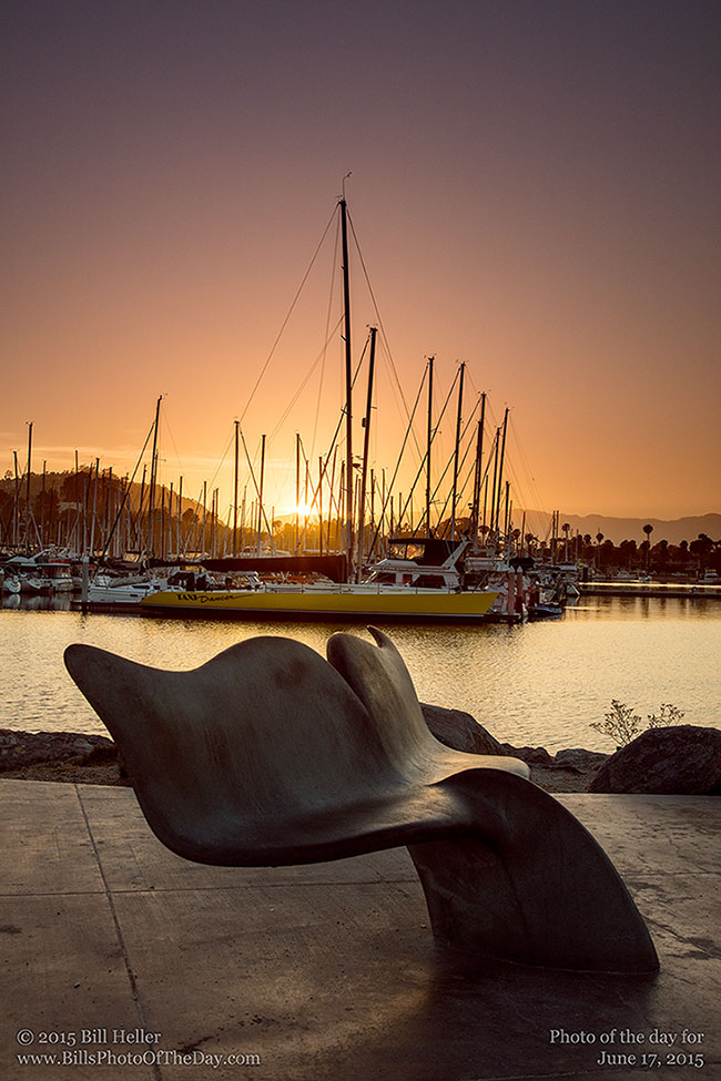 Whale Tail bench at the Santa Barbara Harbor