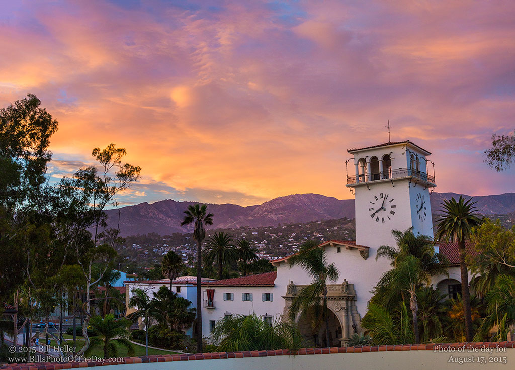 Santa Barbara Courthouse Mountain Sunset