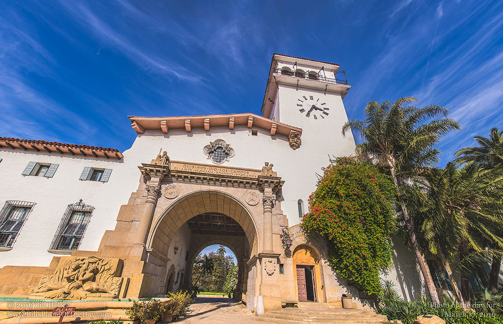 Panorama of the Archway and Tower at the Santa Barbara County Courthouse